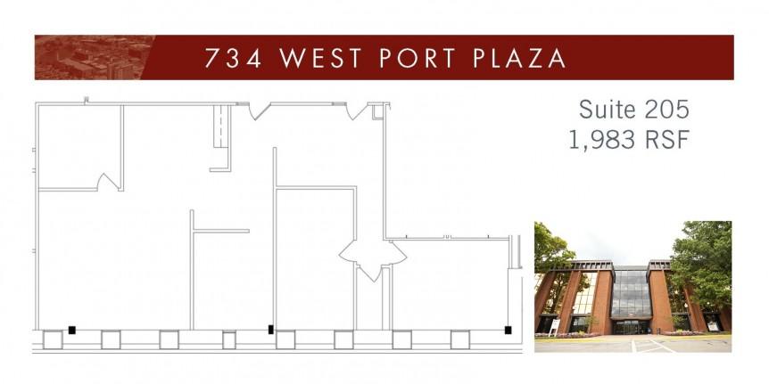 734 West Port Plaza Suite 205 Floorplan with bldg image