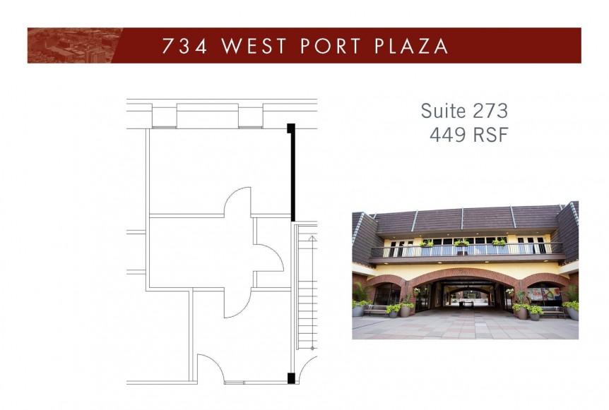 734 West Port Plaza Suite 273 Floorplan with bldg image